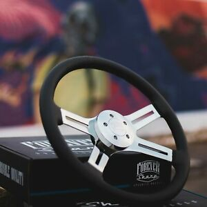 18 Chrome Steering Wheel With Black Leather Grip And Billet Horn Button