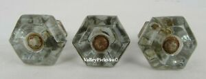 Lot Of 3 Antique Glass Furniture Cabinet Cupboard Drawer Knob Pulls Apothecary
