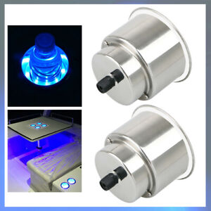 2x Stainless Steel Cup Drink Holder 8led Blue Light For Marine Boat Car Truck Rv