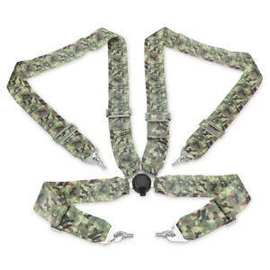 Universal 4 Point Camlock Racing Safety Harness Camouflage Snap On Quick Release