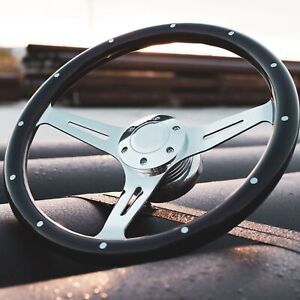 15 Chrome Spokes Steering Wheel With Dark Wood Grip And Billet Horn 6 Hole
