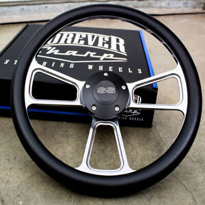 14 Billet Muscle Steering Wheel With Black Vinyl Wrap And Black Ss Horn 5 Hole