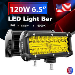 Nilight Amber 2pcs Led Light Bar 6 5inch 120w Fog Driving Lamps For Jeep Offroad