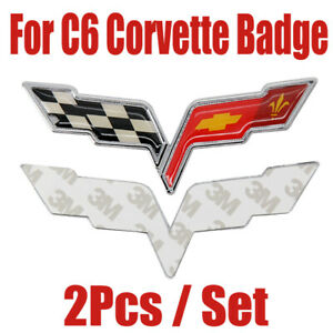 2pcs C6 Corvette Badge Chevy Gm Front Rear Crossed Flags Emblem Decal