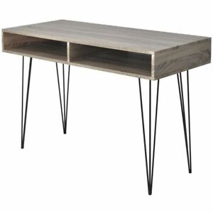 Vidaxl Desk With 2 Compartments Gray Writing Study Room Office Computer Table