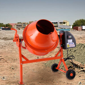 Portable Electric Cement Mixer Concrete Motar 2 1 5cuft Drum Construction