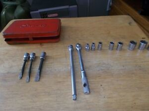 Snap on 1 4 Drive Box And Assorted Sockets