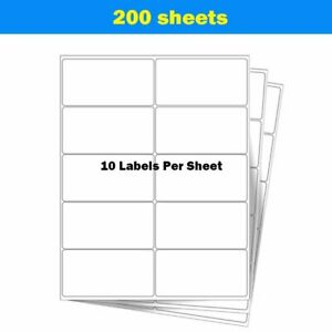 2000 Blank Shipping Address Labels 2 X 4 Self Adhesive 200 Sheets Fedex Laser