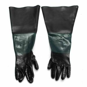 Pair Rubber Sandblaster Gloves Heavy Duty Sand Blast Cabinets Safety Glove New