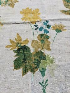 Vtg Linen Tablecloth Yellow Floral Rustic 46 X 68 Spring Rectangle Scallop 1930s