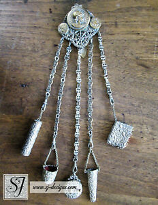 Gilt Roman Soldier Chatelaine With 5 Accessories Tools Heavy Floral Embossing