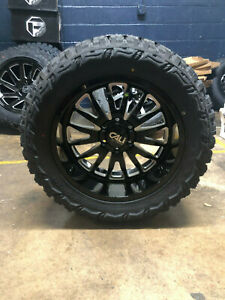 20x10 Cali Summit Black Wheels Rims 35 Mt Tires Package 6x135 Ford Expedition
