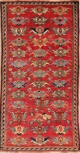 Gabbeh Runner Rug Wool All Over Hand Knotted Oriental One Of A Kind 4 X8 Carpet