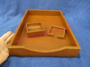 3 Coach Brand Leather Desk Organizers Letter Tray Note And Clip Brown Office