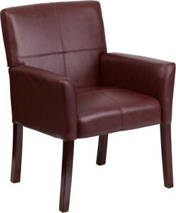 Burgundy Leather Executive Office Side Reception Chair With Mahogany Legs
