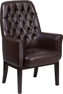 High Back Traditional Tufted Brown Leather Executive Office Reception Chair