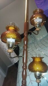 Vintage Mid Century Tension Pole Floor Lamp 3 Light Amber Shades Wood Pole Eames