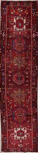 Palace Size Geometric Heriz Oriental Medallion Hand Knotted 4x14 Wool Runner Rug