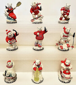 Polar Bears Wintertime Wonder Coca Cola Bear Figurines COA Lot of 9