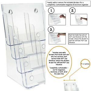 One Large 4 Tier Magazine Organizer Wall Mount Or Counter Top Premium Clear
