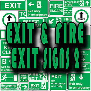 Fire Exit And Exit Health Safety Fire Escape Vinyl Wall Stickers Signs 2