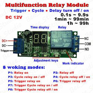 Dc 12v Led Display Cycle Delay Timing Timer Relay Switch Turn On off Module Plc