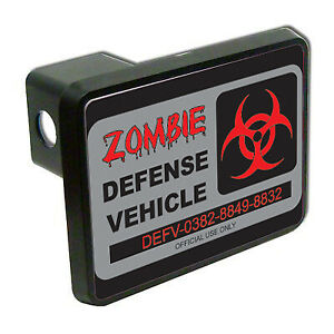 Zombie Defense Vehicle Funny 2 Tow Trailer Hitch Cover Plug Car Truck Receiver