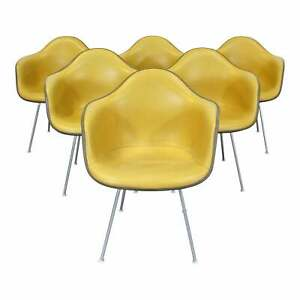 Set Of 6 Mid Century Danish Modern Eames For Herman Miller Dax Shell Arm Chairs