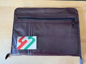 Vintage Scully Burgandy Leather Zipper Portfolio Planner Organizer Made In Italy