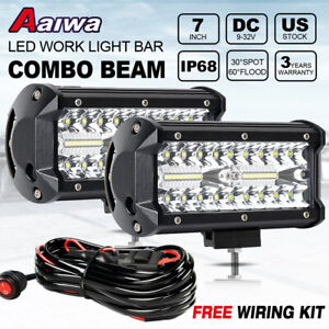 2x 7 Inch 240w Tri row Led Light Bar Spot Flood Work Pods Off road Utv 4wd Wire