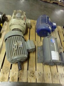 Motors Lot Of 4 Containing 3 10 Hp And 1 15 Hp Baldor Century 3 Phase