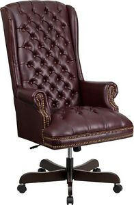 High Back Traditional Button Tufted Burgundy Leather Executive Office Chair