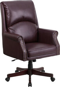 Traditional High Back Pillow Back Burgundy Leather Executive Swivel Office Chair