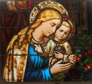 Architectural Salvage Stained Glass Window Madonna Child Pre 1900 Restored