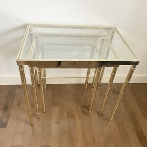Vintage Mid Century Hollywood Regency Brass Glass Bamboo Nesting Side Tables