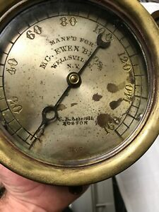 Antique Mcewan Bros Wellville N y Steam Engine E A Ashcroft Gauge Railroad