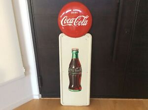 Vintage Coca Cola Button on Pilaster Sign Dated March  1950v