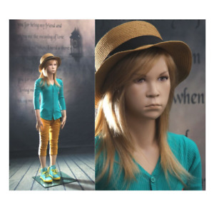 Realistic Female Junior Kids Fleshtone Fiberglass Full Body Mannequin With Base