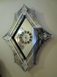 Venetian Wall Clock Mirror Hollywood Regency Serrated Beveled Cut Edges 29 T