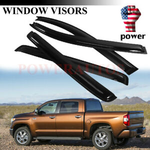 Fit Toyota Tundra Crewmax 2007 2019 4pc Door Vent Visors Rain Guards Black