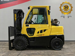 2013 Hyster H80ft 8000lb Pneumatic Forklift Lpg Lift Truck Enclosed Cab 86 173