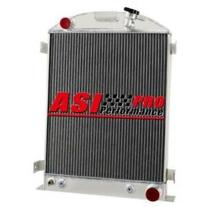 3 Row Aluminum Radiator For 1937 38 Ford Model A Chevy V8 Engine W cooler At mt