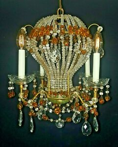 Rare Maison Bagues Style Hot Air Balloon Crystal Chandelier Beaded 24 Tall