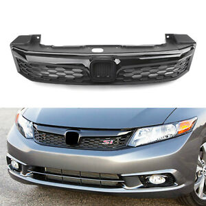 Si Style Front Hood Grille Replacement Fit 2012 Honda Civic Sedan 4 Doors