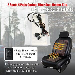 12v Car Seat Heater Warmer 2 Seats 4 Pads Universal 5 level Switch Heated Pad
