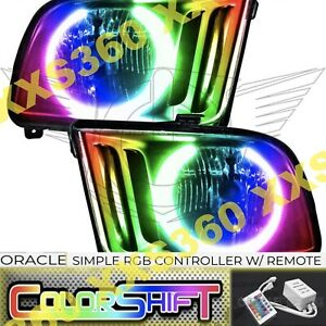 Oracle Halo 2x Headlights For Ford Mustang 05 09 Led Colorshift Simple W Remote