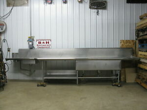 190 Stainless Steel Right Side Hobart Dirty Dish Washer Table W 3 Bowl Sink