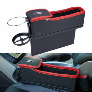 1 Pair Black Universal Car Seat Crevice Storage Cup Holder Caddy Gap Filler