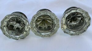Glass Door Knob Lot Of 3 Brass 12 Sided Clear True Vintage 1960 S 2 Inch Across