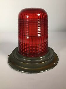 Vintage 6 Yankee 342 Red Glass Lense Dome Emergency Light Made In Usa